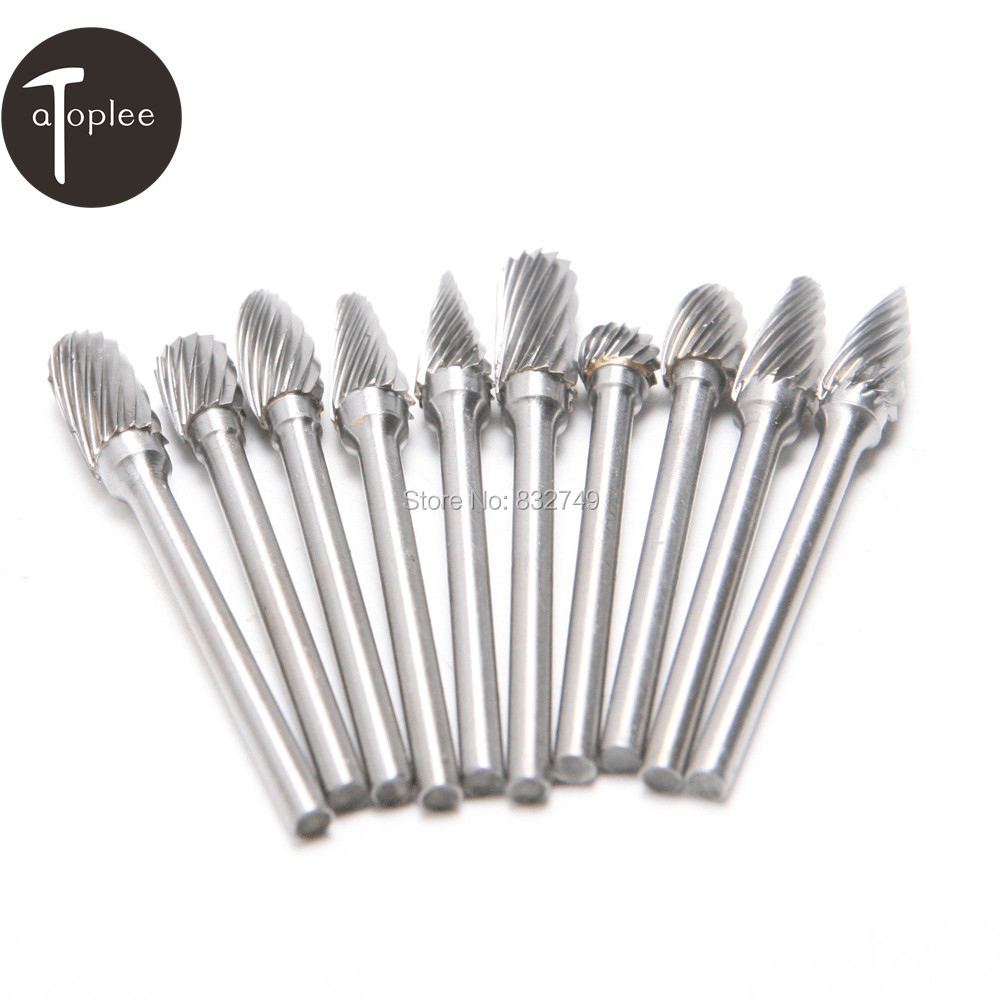 10PCS Assorted 6mm Head Tungsten Carbide Rotary Point Burr Die Grinder Bit 1/8 Shank Milling Bits Drill Cutter Tool hot sale20 x tungsten steel solid carbide burrs for rotary drill die grinder carving