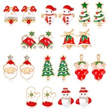 Christmas Alloy Oil Series Earrings Christmas Gifts Women Earrings Santa Claus Apple Snowman Tree Bell Stud Earrings Jewelry(China)