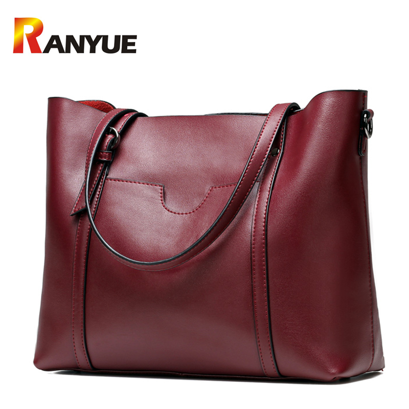 Vintage Women Genuine Leather Handbags Women Shoulder Bag Large Capacity Casual Tote Bag Female Messenger Bags Bolsa Feminina vintage women pu leather handbags patchwork shoulder bags messenger bags casual tote diagonal bag female bags bolsa feminina