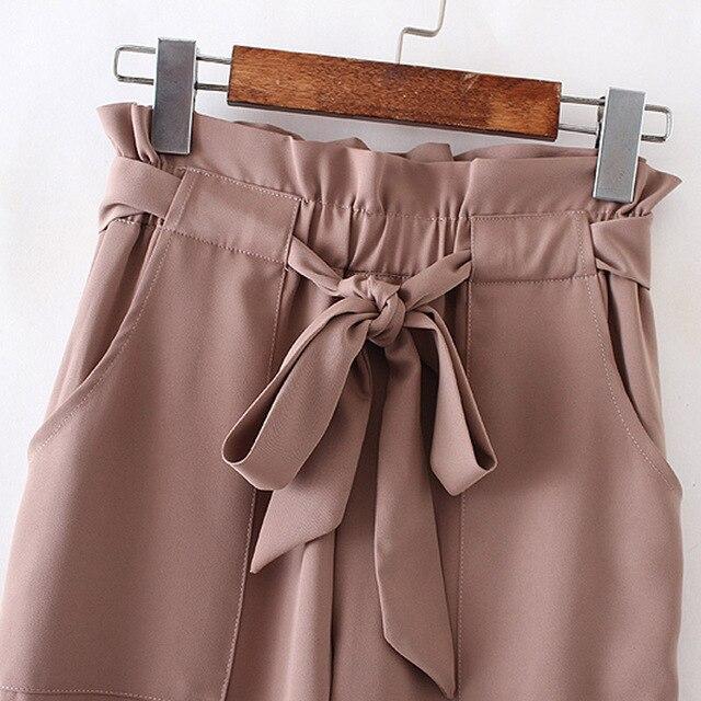 women OL chiffon high waist harem pants bow tie drawstring sweet elastic waist pockets casual trousers pantalones ZC047