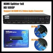 HDMI Splitter 1×8 New Amplify 15M HD1080P 8 Port Splitter Support 3D HDMI V1.3 Video Audio Converter HDMI Switch For HDTV,+ Box
