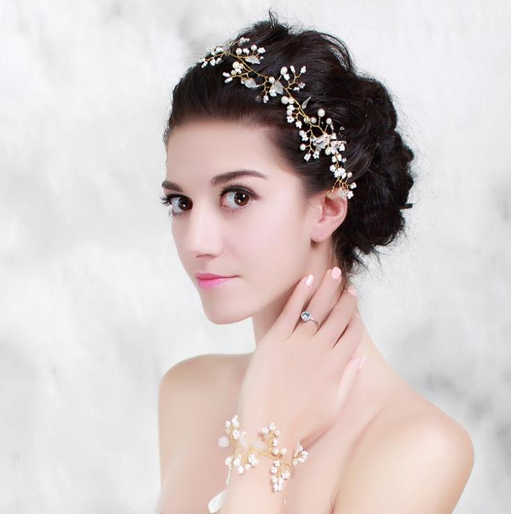 Wedding Hairstyles With Hair Jewelry: Pearl Crystal Gold Wedding Headband Hair Accessories