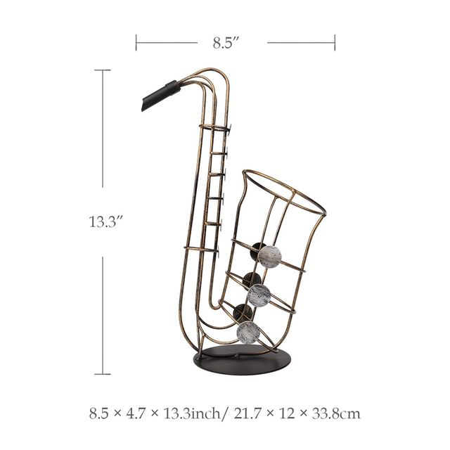 Tooarts Wine Bottle Holder Metal Figurine Sax Wine Rack Practical Figurine Crafts Artwork For Home Decoration Accessories 6