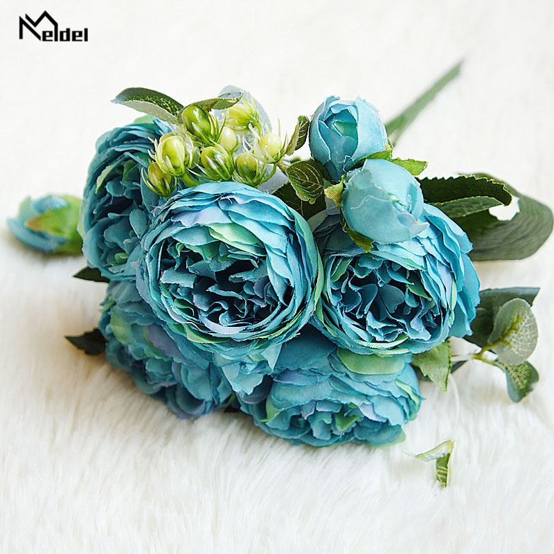 silk flowers artificial peonies bouquet rose wedding home decoration (8)