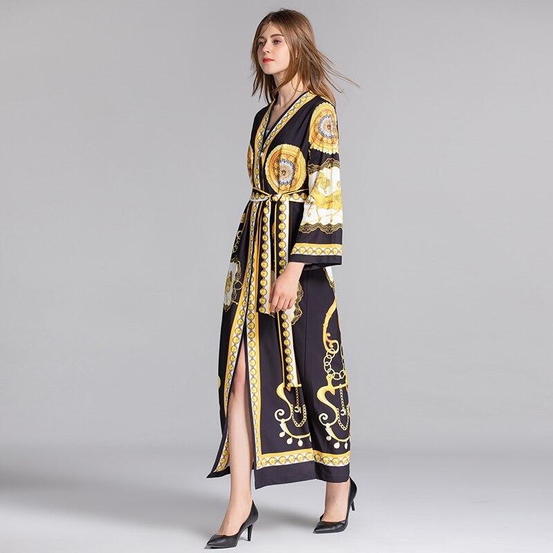D'été Designer Milan Multi Xf Taille Slim Piste D'impression Printemps Et 2019 Décontracté Robe Haute Bohème Rétro Femmes Yg6ybf7