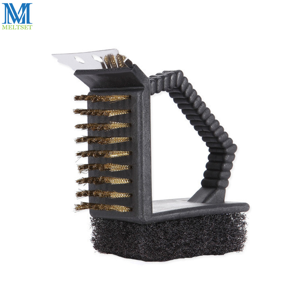 Meltset BBQ Grill Cleaning Brush 3 in 1 Copper Brush Multifuntion Sponge Cleaning Brush Barbecue Accessories