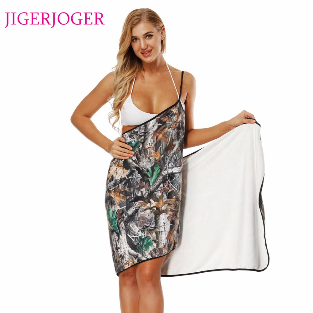 JIGERJOGER Summer Thick printed grey Wood leaf Towel Beach Apron halter Swim Dress Swimming Shawl Strapped cover up Wrap scarf