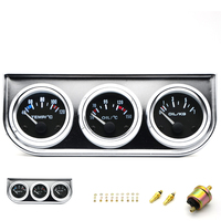 3 IN 1 Kit Gauges 52mm Water Temp Oil Pressure Oil Temp Gauges Chrome Housing With Sensor
