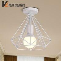 Modern White Back Birdcage Ceiling Lights Iron Minimalist Retro Ceiling Lamp Loft Pyramid Lamp Metal Cage
