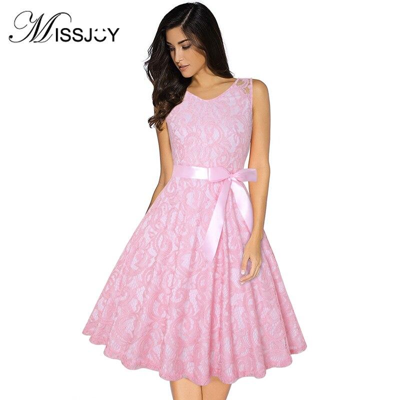 MISSJOY Crochet Floral Lace Vintage Dress Elegant Fashion Women Clothes Sleeveless O-Neck High Waist With Belt Plus Size 3XL-4XL