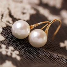 Simple classic simulated pearl earrings for women bijoux gold-color earring jewelry wholesale cute gift