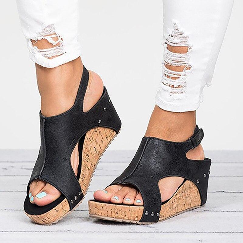 Tacones altos de verano sandalias de mujer de Punta abierta de cuero Retro Vintage cuñas zapatos de moda gladiador romano zapatos mujer Sandalia