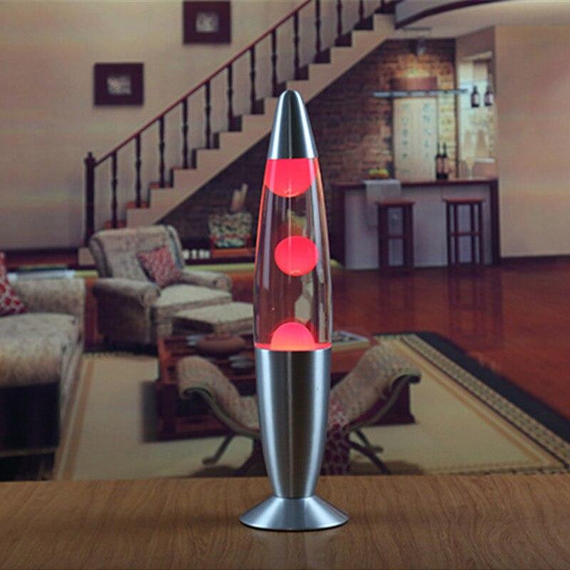 US Plug LED 110v Metal Base Lava Lamp Wax Volcano Style Night Light Jellyfish Nightlight Glare American plug