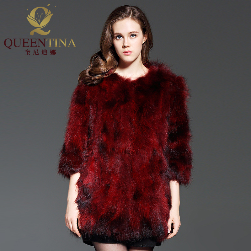 Véritable Femme Femmes Laveur Mode Fourrure Raton Outwear Nouvelle Hiver Chien Naturel Réel 2018 Manteaux Chaud Rouge Vestes Viverrin Épais De Marque WaBFqBC
