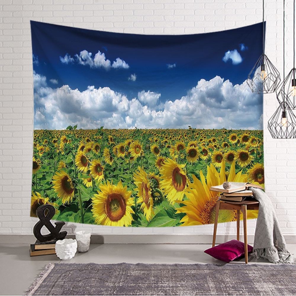 New Wall Tapestry Cat Sunflower Pattern Picnic Mat Family Table Bedroom Wall Decoration Blanket Customizable Your Photo150 230CM in Tapestry from Home Garden