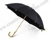 Straight pure nature rattan bamboo handmade maple wooden umbrellas 300D Twaiwan formosa nylon anti thunder fiberglass parasol