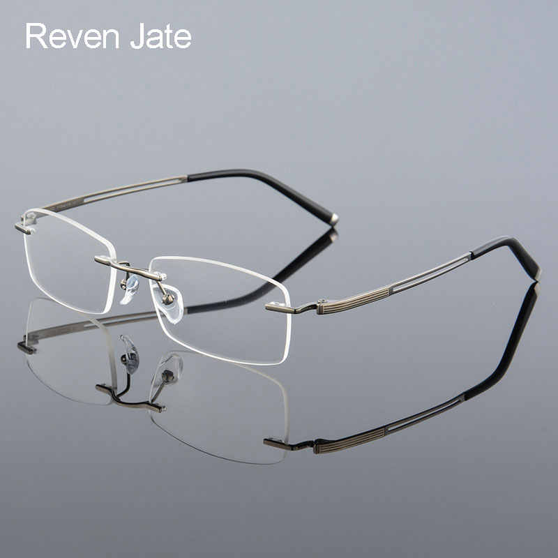 c156492fb3 Reven Jate Rimless Titanium Alloy Optical Eyeglasses Frame for Men Prescription  Eyewear Glasses Spectacles Man Eyepiece