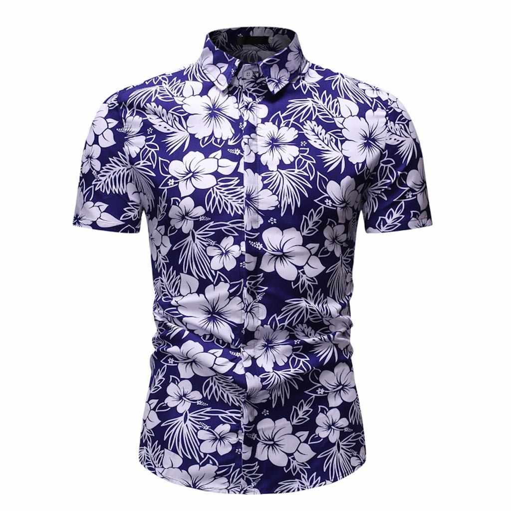 여름 하라주쿠 블라우스 남성 기모노 플라밍고 플로랄 코코 리프 프린트 카디건 셔츠 남성 하와이 비치 루스 오픈 스티치