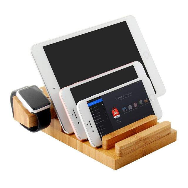 Multiple Devices Bamboo Wood Docking Station 3 Usb Ports Charge Bracket Stand Holder For Iphone X