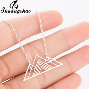 Shuangshuo Trendy Art Deco Triangle Necklace Mountain Charm Geometric Necklaces Hiking Outdoor Mountain Range Pendants Necklaces(China)