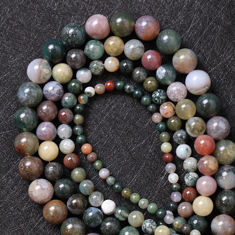 """Careful Magic Fish Indian Agat Loose Beads Natural Stone 15"""" Strand 4 6 8 10 Mm Pick Size For Jewelry Making Tiara Erkek Kolye Lol Aros"""