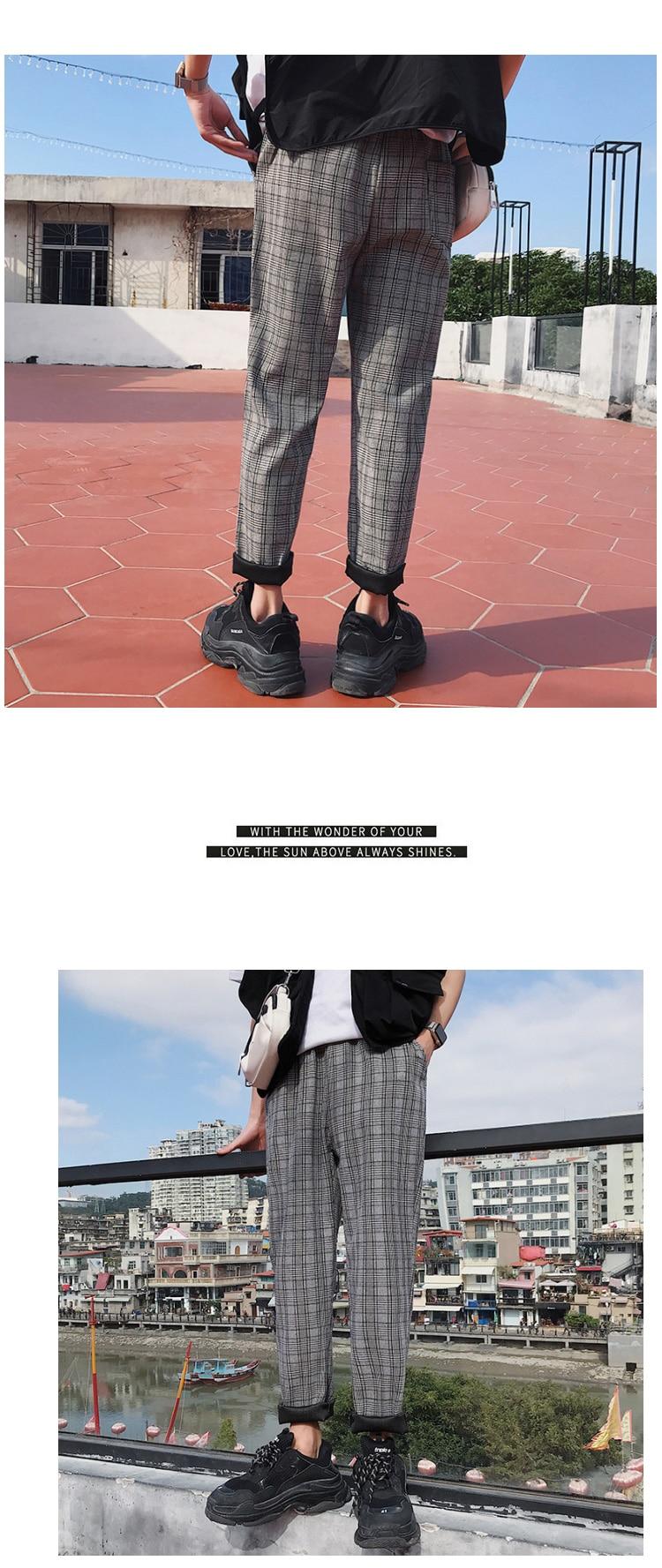 HTB104eobzzuK1Rjy0Fpq6yEpFXa4 LAPPSTER Streetwear Yellow Plaid Pants Men Joggers 2019 Man Casual Straight Harem Pants Men Korean Hip Hop Track Pants Plus Size