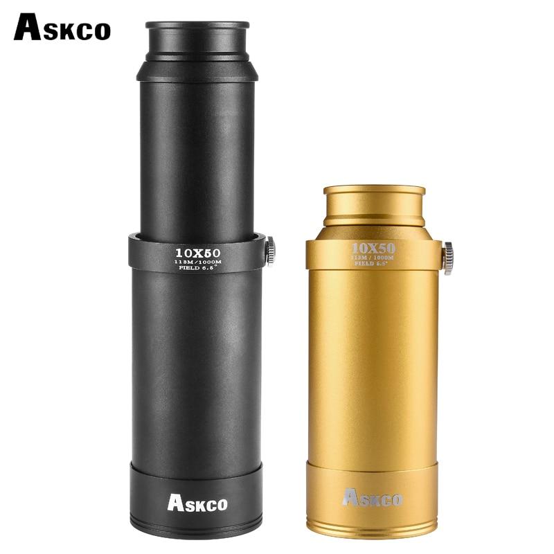 Askco HD 10X50 Full Metal Pirate Monocular Telescopic Telescope Retractable Birdwatch Binocular Spotting Scope With a Tripod new spotting scope birdwatch monocular