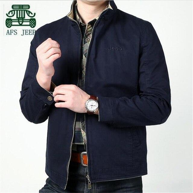 AFS JEEP Solid Color Men's Summer Autumn 2016 100% Cotton Loose Big Size Jacket,Zipper Fly Man's Cardigan Original Brand Outwear