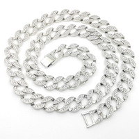 ICED OUT CHOKER NECKLACE WHITE GOLD FILLED MIAMI CUBAN LINK HIP HOP MEN'S HEAVY CHAIN