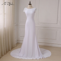 ADLN New Long White Mermaid Wedding Dresses Cheap Scoop Neck Open Back Beach Boho Wedding Gowns