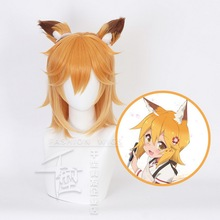 цена на Anime Sewayaki Kitsune no Senko-san Orange Cosplay Wig With Hair Pin Ear Halloween Costume Party Play Wigs