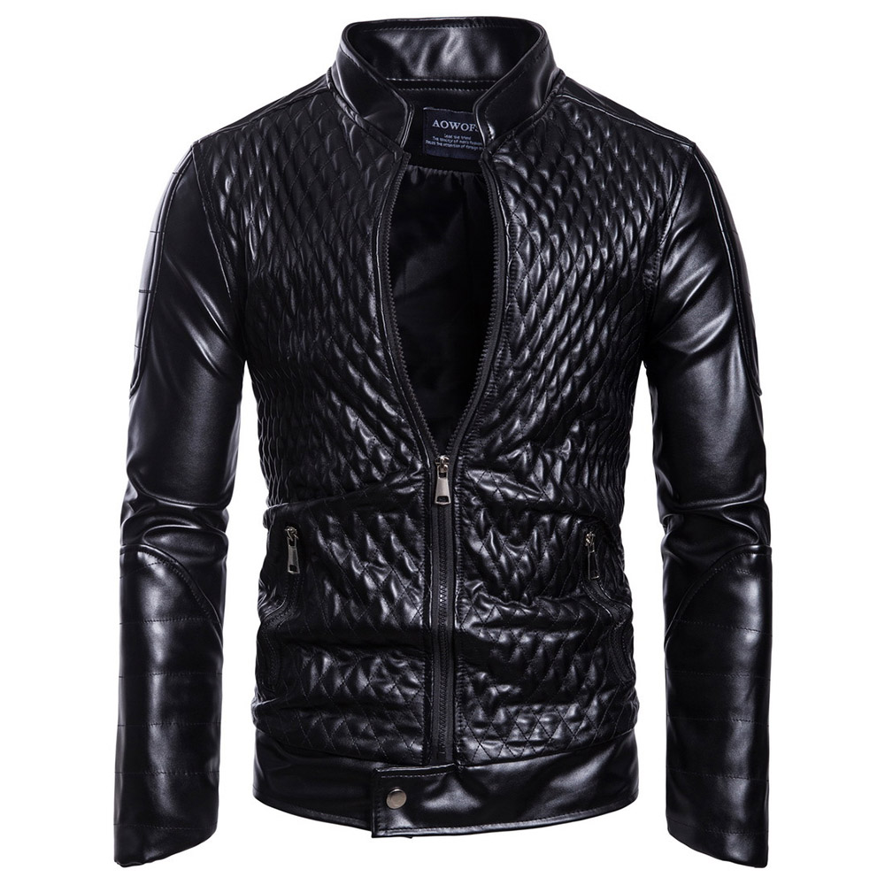 Gothic Plus Size Faux   leather   skull Jacket Long Sleeve Stand Collar Slim Shirt Casual Cothes Black PU Jacket