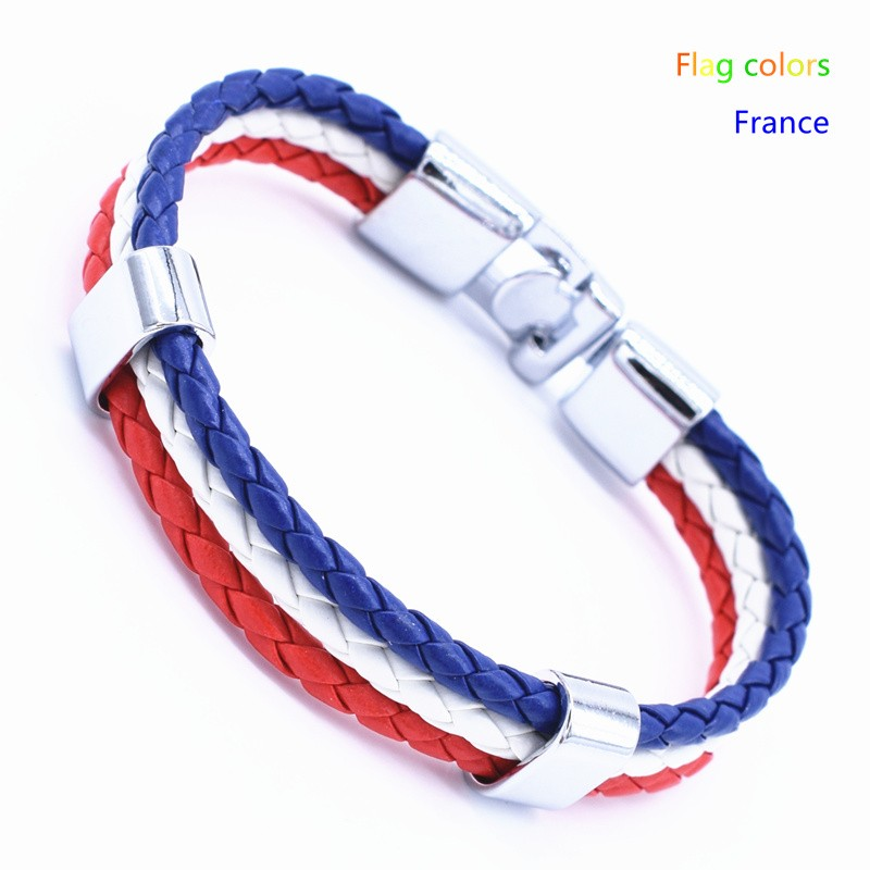 Wholesale Length 21cm 3 Strands Rope Braided Leather Chain & Link Bracelet Men Wristband National Flags Color Sports Bracelets 10