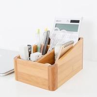 Modern Style Bamboo Storage Box Table Organizer 4 Slots Multi-Use Storage Box Wood Office Organizer Remote Controller Holder