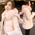 New winter coats women casual medium long white duck down jacket damesjas loose A-line hooded fox fur collar outerwear parka