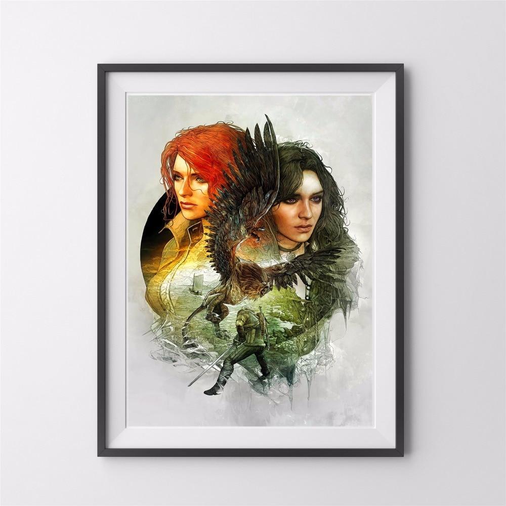 The Witcher aquarelle Figures toile Art impression peinture affiche mur photos pour nouvel an cadeaux maison décorative décor pas de cadre
