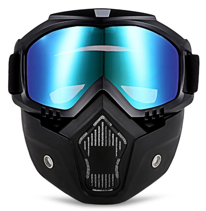 ROBESBON Men Women Ski Motorcycle Mask Half Goggles Helmets Open Face Detachable Goggle Motocross Motorbike Motor Glasses