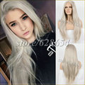 HandTied Hairstyle Platinum Blonde Lace Front Lace Wig Synthetic Ash Blonde Long Straight Heat Resistant Fiber Wigs Freeshipping