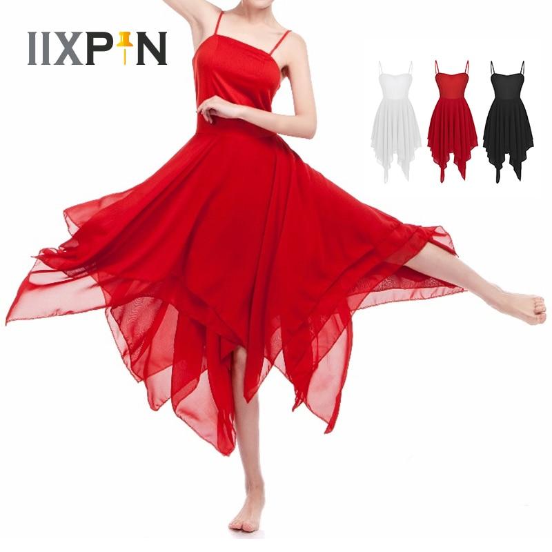 Women Ballet Dress Ballerina Gymnastic Dress Adult Ballet Spaghetti Strap Sleeveless Asymmetric Chiffon Contemporary Dance Dress