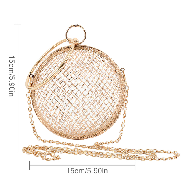 2018 Hollow Metal Ball women shoulder bag gold Cages Round Clutch Evening Ladies Luxury Wedding Party CrossBody Purse handbag