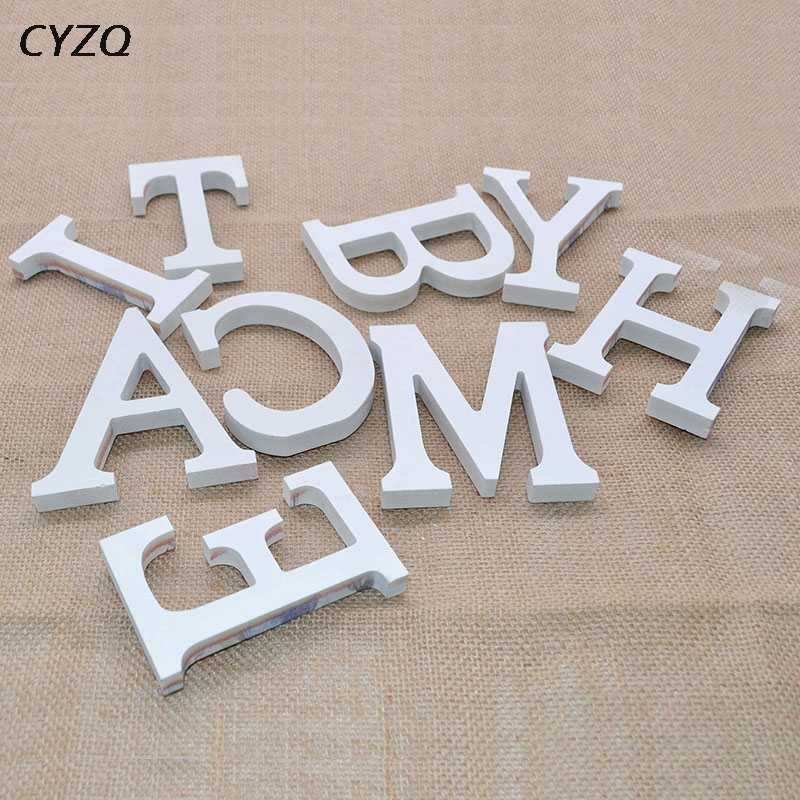 1pc White Wooden Letters English Alphabet Word Personalised Name Design Art Craft Free Standing Heart Shape Wedding Home Decor
