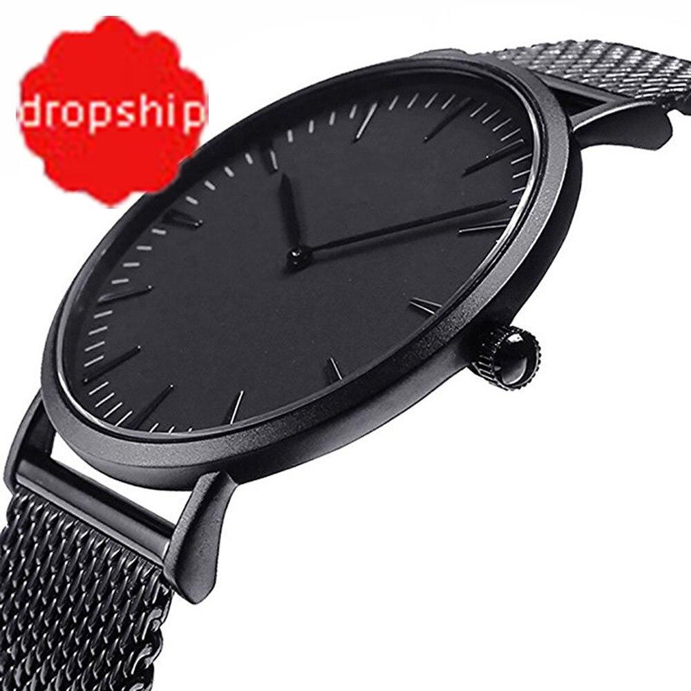 Luxury Women Men Stainless Steel Watch Analog Quartz Bracelet Wrist Watches For dropshipping stylish 8 led blue light digit stainless steel bracelet wrist watch black 1 cr2016