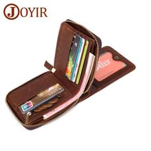 JOYIR New Design Mens Wallet Card Bag Genuine Leather Retro Men Holder Male Zipper Purse Man