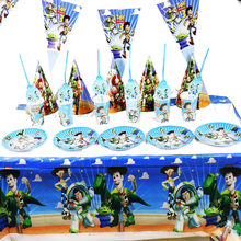 109pcs/lot Toy Story theme disposable party tableware Toy Story disposable party sets Toy Story plates cups banners(China)