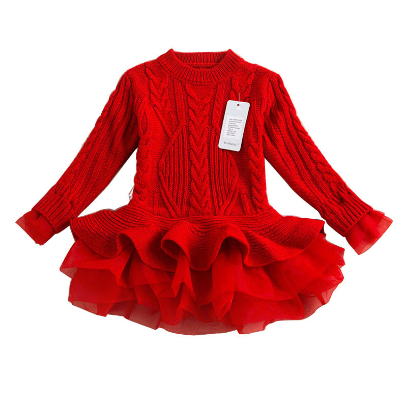 ca94580dd3a Organdy sweater for Girl Wear Halloween New year Christmas Wool dress party  Costume Girls Clothes Fancy Dresses Party Teenage