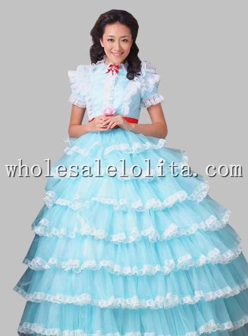 Красивое чистое белое/небесно-голубая органза принцесса многослойное платье - Цвет: Небесно-голубой