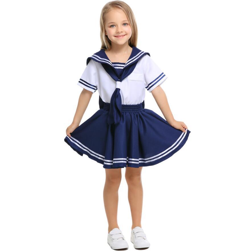 90-150cm Child Girls Bow Tie Dress Navy Sailor Uniform Fancy Halloween Cosplay Costume Kids Boys Sailor Suits