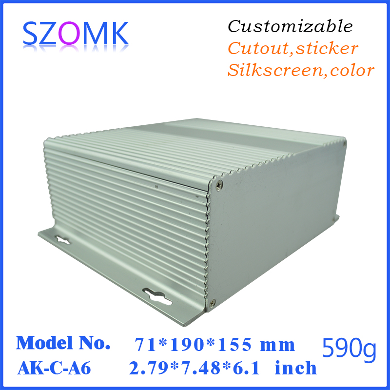 szomk anodizing wall mounting aluminum case box (1 pcs) 71*190*155mm silvery electronics aluminum control enclosure for pcb