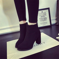 2017 Autumn And Winter Boots And British Fashion Boots Suede High Heeled Shoes With Non Slip