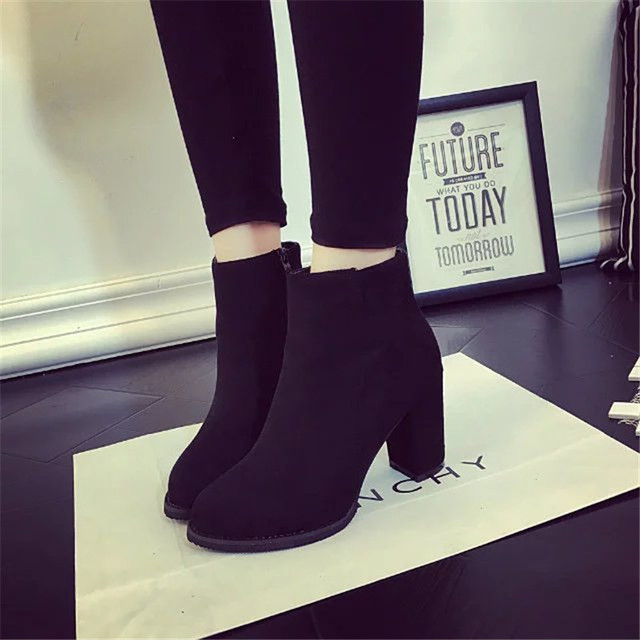 2017 autumn and winter boots and British fashion boots suede high-heeled shoes with non slip shoes all-match coarse